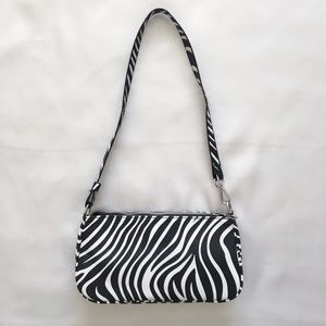 zebra pattern baguette mini bag